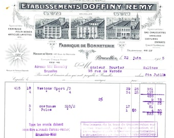 Antique Vintage Illustrated Billhead Invoice French Belgian Hats Bonnets 1925 History Clothing Costumes Accessories
