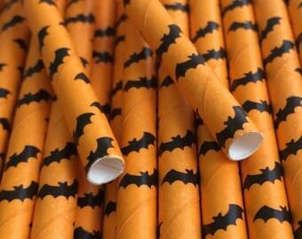 25 oranje met zwarte Bat papieren rietjes - Halloween - Party Decor leveringen tafelgerei drinken