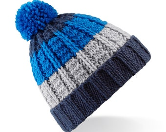 Three To The Sea Stripey Knit Bobble Beanie Hat