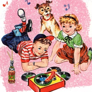 Kids Listening to Records on Phonograph - Digital vintage image - instant download