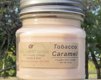 TOBACCO CARAMEL SOY Candle - Rustic Decor - Men's Candle