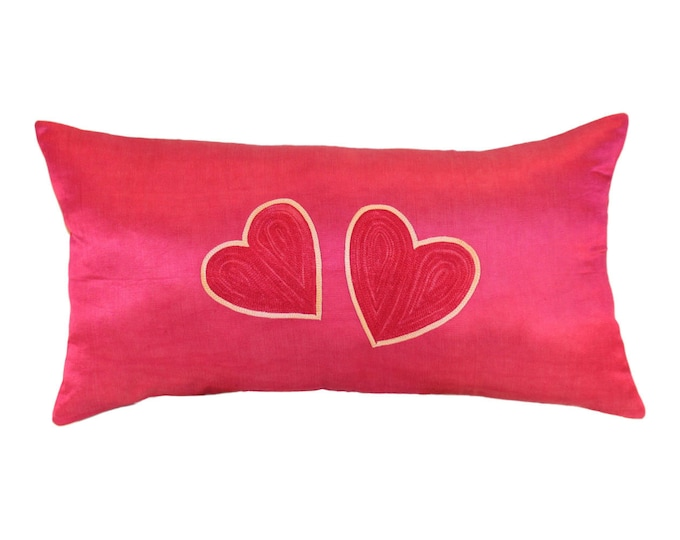 SALE!!! Two Hearts Pink Pillow, Silk Handmade Suzani Pillow Cover msp783, Suzani Pillow, Suzani Throw, Decorative pillows, Accent pillows