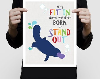 platypus art australian animals nursery print - why fit in born to stand out, aussie kids room decor, girl boy, artwork inspirational quote