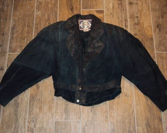 1980s Womens Forrest/Hunter Green Leather/Suede Paisley Paris Sport Club Crop Jacket Size Small/ 80s Crop Jacket/ 80s Oversized Crop Coat