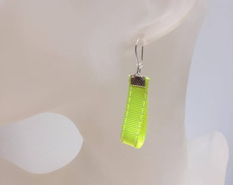 Neon yellow ribbon earrings