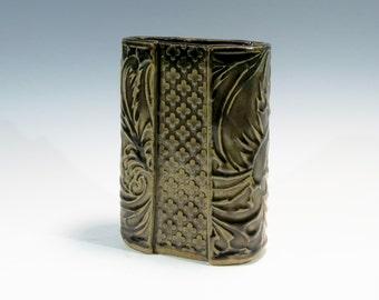 Slab Built Ceramic Vase Handbuilt Ceramic Vase Textured Ceramic Vase Pottery Vase