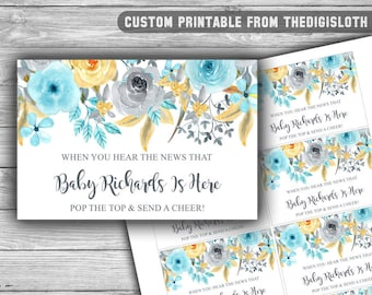 CUSTOM - Blue - Floral - Baby Shower - Mini Champagne Labels - PRINTABLE - Popping - About To Pop - Blue - Gray - Grey - Labels - 092
