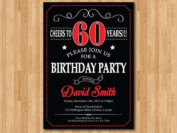 60th birthday invitation chalkboard black white and red 30 like this item filmwisefo Image collections