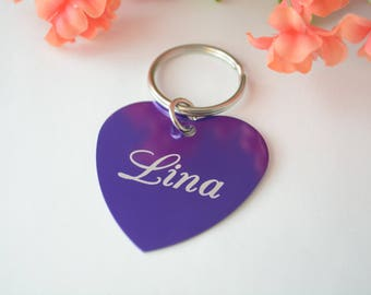 Personalized Heart Keychain, Heart Shaped Keyring, Personalized Keychain, Engraved Dog Tag, Stocking Stuffers for Women, Engraved Keychains