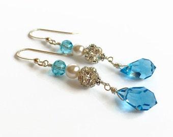 Long Teardrop Bridal Earrings - Bridesmaid Gift - Teal Teardrop Earrings - Cubic Zirconia
