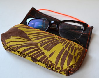 Leather case for pens or glasses (brown leather with yellow print)-neon details