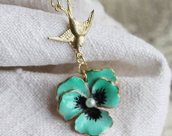 Green Pansy Necklace Green Flower Necklace Jewelry For Mom Flower Necklace Pansy Jewelry