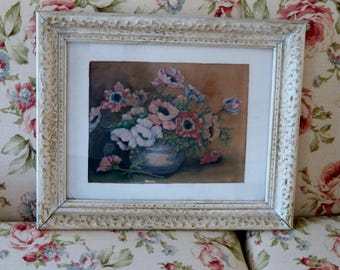 Lovely 1940's Cottage/Shabby Chic Vintage Framed Floral Print