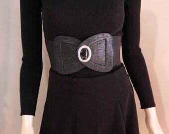 Vintage Black Waist Belt 50s 60s