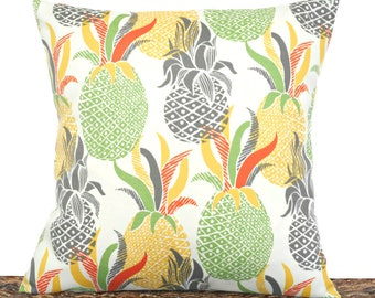 Pineapples Outdoor Pillow Cover Cushion Tropical Lime Green Gray Yellow Orange Beige Summer Decor Decorative 18x18