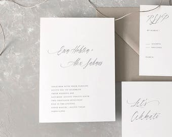 Rustic Wedding Invitation Sample - Erin | Letterpress Wedding Invitations | Wedding Invites | Gray Wedding Invitations