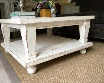 Wooden Coffee Table Rustic Wood Distressed Furniture Living Room Table Decor Beach Furniture Cottage Chic French Country Decor 32x32x17 USA