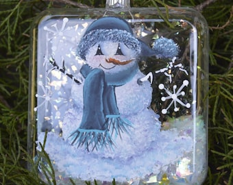 Hand Painted Glass Snowman Ornament
