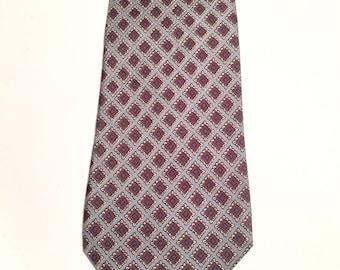 Vintage Silk Necktie Silver Gray and Brown 100 % Silk Hand Made