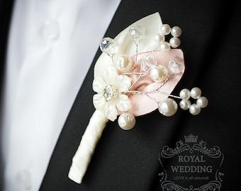 Boutonniere Wedding Boutonniere Buttonhole Wedding Boutineer Grooms Boutonniere Brooch Boutonniere Fabric Boutonniere