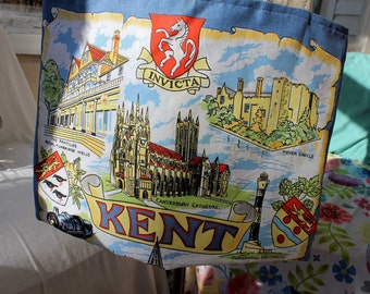 Upcycled Tote Bag, Upcycled Tea Towel, Kent United Kingdom, Blue Tote, Eco Tote, Market Tote, Grocery Tote, Library Tote, OOAK, England