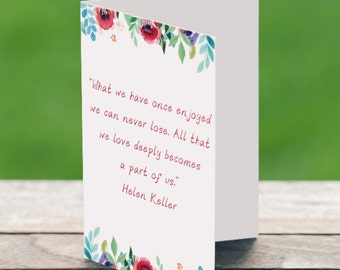 sympathy quote card, sorry for your loss, memorial card, funeral card, mourning card, helen keller,inspirational card, memorial card