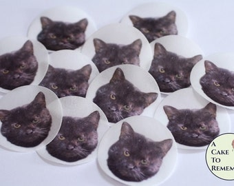 12 black cat edible wafer paper images for Halloween cookie decorating or cupcake toppers. All profits go to cat rescue!