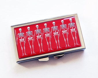 Squelette pillule, 7 jour pilule cas, 7 sections, pilule, pilule, squelette, rouge, squelette Pill box, pillule rouge, Halloween (5186)