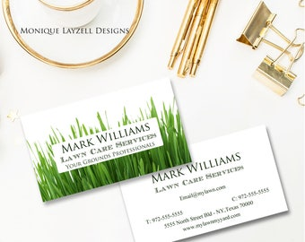Green Grass  Garden landscaping  White background  Printable Business Card