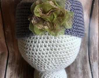 Girl Toddler Headband, Ear Warmers, Girl Headband, Winter Baby, Knit Headband, Toddler Headband, Girl Headband Grey with Green Flower