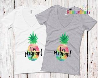 Pineapple Pregnancy Shirt, I'm Pregnant Rainbow Pineapple Maternity Shirt, Rainbow Baby Pregnancy, IVF Baby