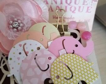 Baby girl shower confetti,elephant confetti,design paper,pink,shiny paper,mini elephant,girl confetti