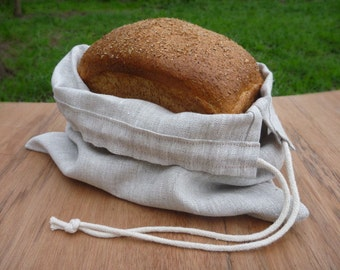 Reusable bag, Produce bag, Linen drawstring bag, Bread bag, Zero waste bag.