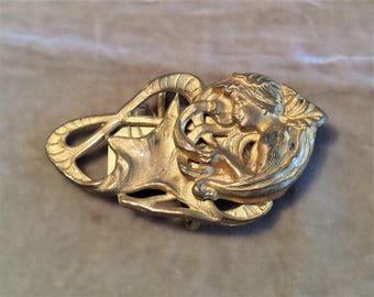Gold Plated Art Nouveau Buckle