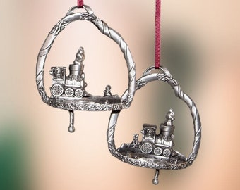 Pewter Holiday Express Train Christmas Ornament