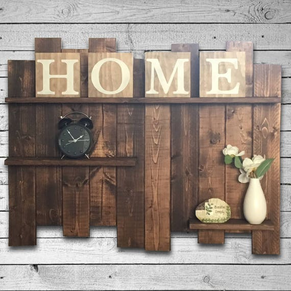 15 Great Diy Farmhouse Decor Ideas That You Must Try: Rustic Pallet Shelf Wood Shelf Pallet Wall Large Rustic