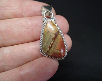 Cherry Creek Jasper Pendant, Sterling Jasper Pendant, Silver Jasper Necklace, Cherry Creek Jasper Jewelry, 925, Under 100, Jasper, 1407