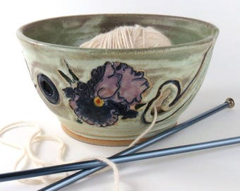 Ceramic Yarn Bowl - Knitting Yarn Bowl - Crochet Yarn Bowl -Purple Iris