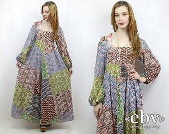 Patchwork Dress  Festival Dress Boho Dress Hippie Dress Hippy Dress 70s Dress 1970s Dress Vintage 70s Patchwork Maxi Dress XS S