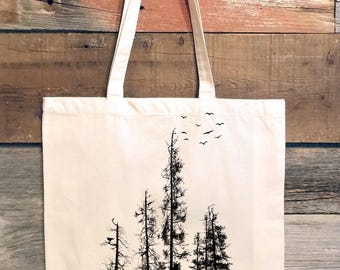 Pine Tree Forest Tote Bag - Screen Printed Tote Bag - Cotton Canvas Tote