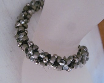 Elegant black, grey and silver kumihimo woven bracelet