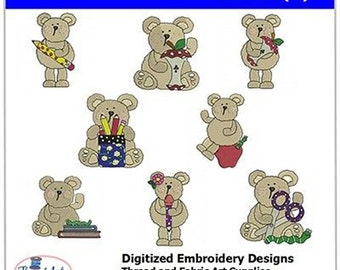 Embroidery Design Cd - Bears(2) - 8 Designs - 9 Popular Formats