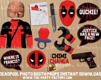 Deadpool Photo Booth Props Instant Download, Printables, PDF, Digital File, Digital Design
