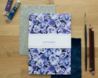 Set of 2 A5 Pansy Notebooks | Lined Pages | Recycled Paper | Designed in Yorkshire | Made in the UK