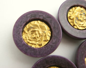 6 purple buttons with gold rose decor, shank buttons with metal rose, 23 mm or 19 mm,unused!