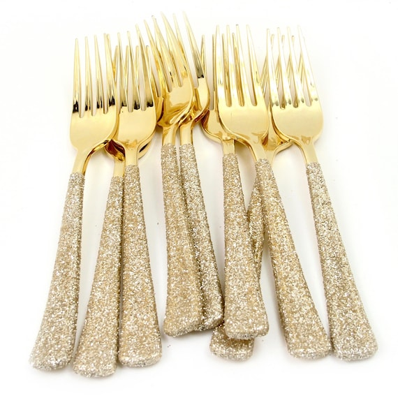 Gold Plastic Fork, White Gold Glitter Silverware Champagne Utensils Disposable Party Silverware Decorative Tableware Table Settings