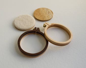 Kit NO laser Mini hoops embroidery frames - Premium hardwood - Two tone reversible - (MH42-R) - 42 mm (50 mm)