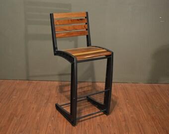 Industrial Rustic Style Solid Wood U0026 Iron Bar Stool