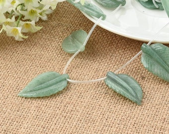 Side Drilled One Strand 22*40MM aventurine Leaf DIY Jewelry