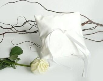 Wedding ring cushion, simple ring bearer pillow, white bridal